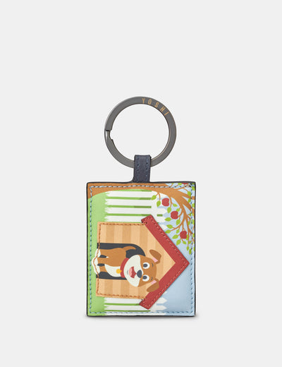 Leather Happy Dog Keyring - Yoshi