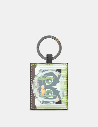 Cat And Fish Bowl Leather Keyring - Yoshi