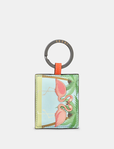 Leather Flock Of Flamingos Keyring - Yoshi