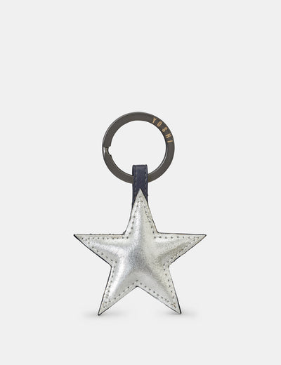 Star Silver Leather Keyring - Yoshi