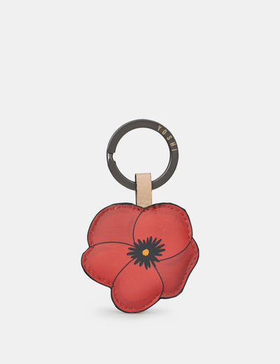 Poppy Flower Leather Keyring - Yoshi