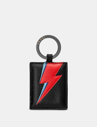 Lightning Bolt Black Leather Keyring - Yoshi