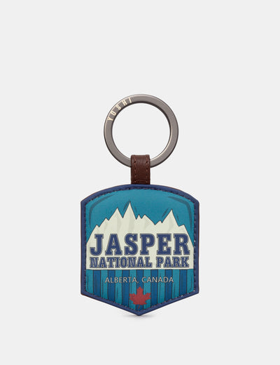 Happy Travels Jasper National Park Brown Leather Keyring - Yoshi