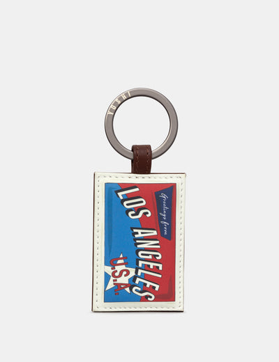 Happy Travels Los Angeles Brown Leather Keyring - Yoshi