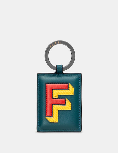 F Monogram Teal Leather Keyring - Yoshi