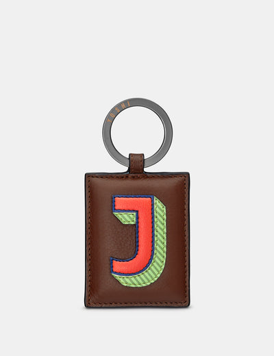 J Monogram Brown Leather Keyring - Yoshi