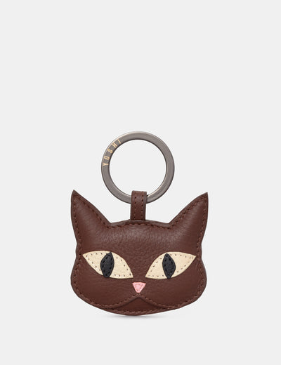 Augustus The Cat Brown Leather Keyring - Yoshi