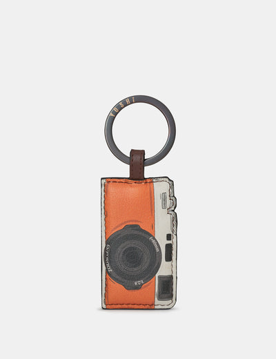 Travel Bookworm Brown Leather Camera Keyring - Yoshi