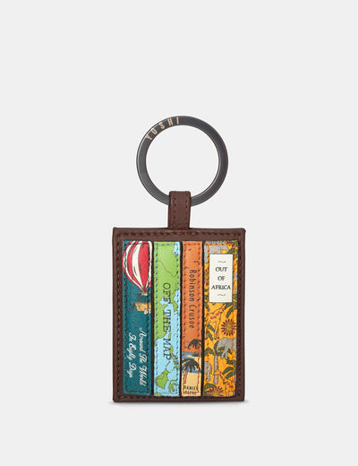Travel Bookworm Brown Leather Keyring - Yoshi