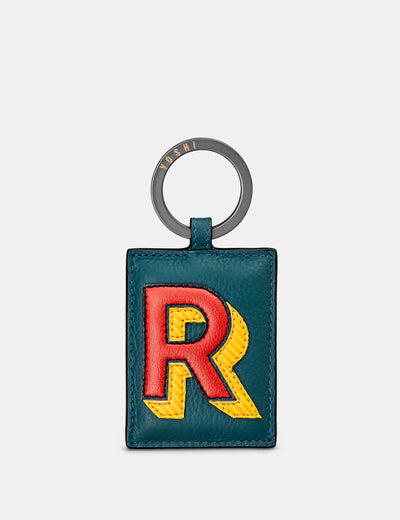 R Monogram Teal Leather Keyring - Yoshi