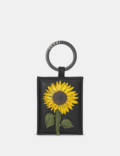 Sunflowers Black Leather Keyring - Yoshi