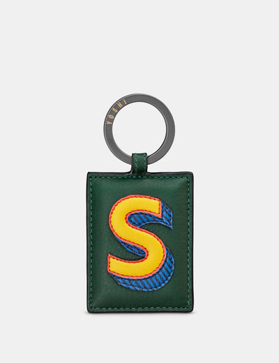 S Monogram Green Leather Keyring - Yoshi