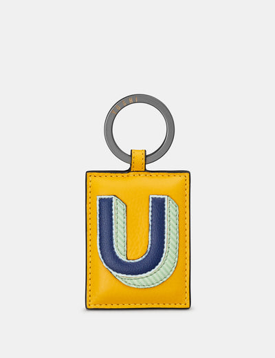 U Monogram Yellow Leather Keyring - Yoshi