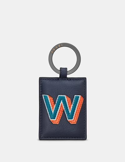 W Monogram Navy Leather Keyring - Yoshi