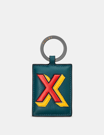 X Monogram Teal Leather Keyring - Yoshi