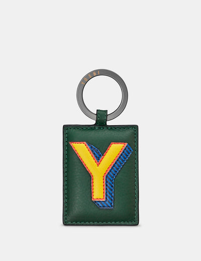 Y Monogram Green Leather Keyring - Yoshi