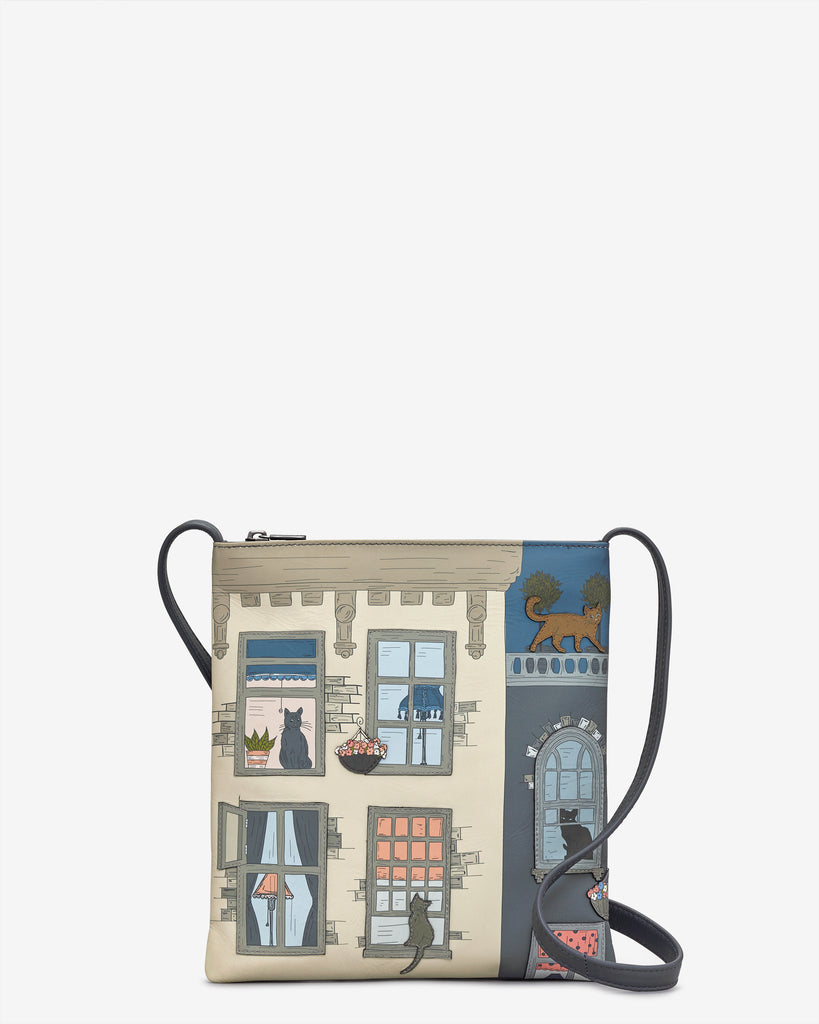 Purrfect Neighbours Leather Cross Body Bag - Grey - Yoshi
