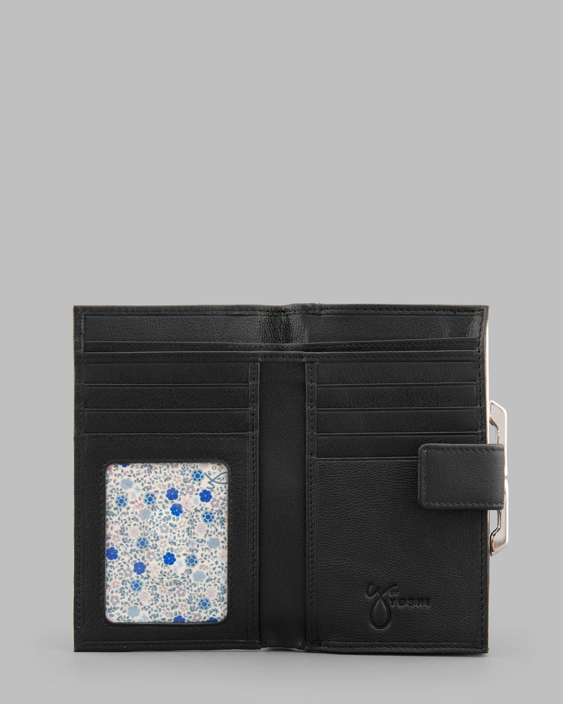 Black Leather Traditional Frame Purse - Yoshi