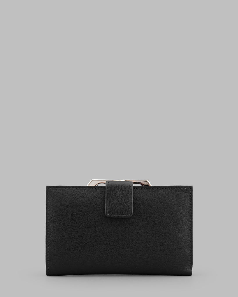 Black Leather Traditional Frame Purse -  - Y by Yoshi