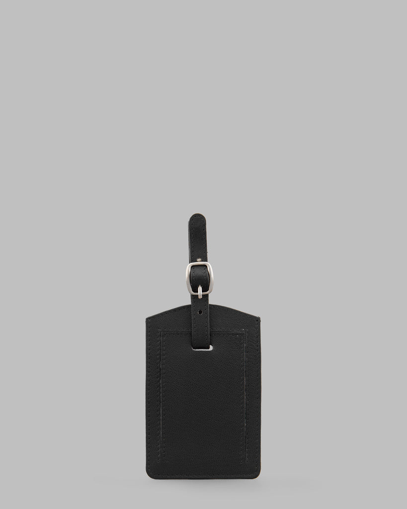 Black Leather Luggage Tag - Black - Y by Yoshi