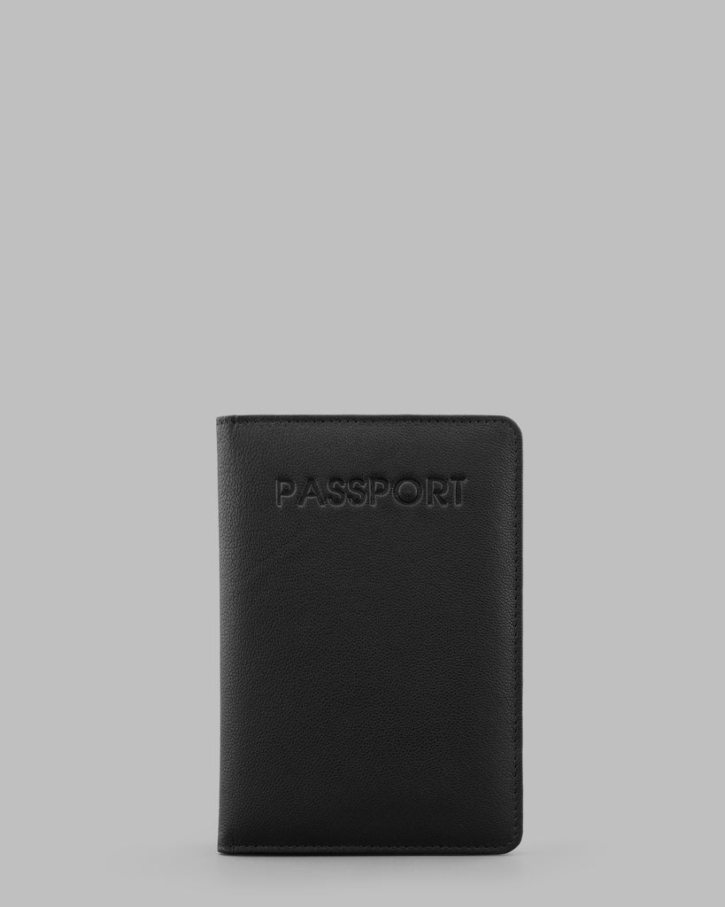 Black Leather Passport Cover - Black - Y by Yoshi
