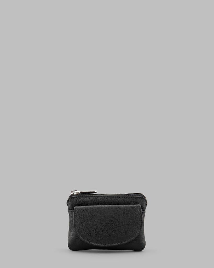 Black Leather Flap Over Coin Purse - Black - Y by Yoshi