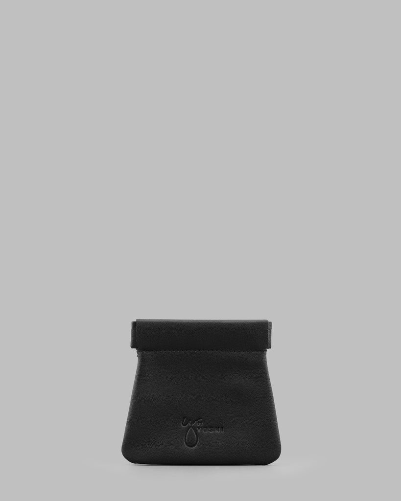 Black Leather Snap Top Pouch - Black - Y by Yoshi