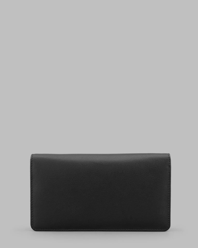 Black Leather Traditional Flap Over Purse -  - Y by Yoshi