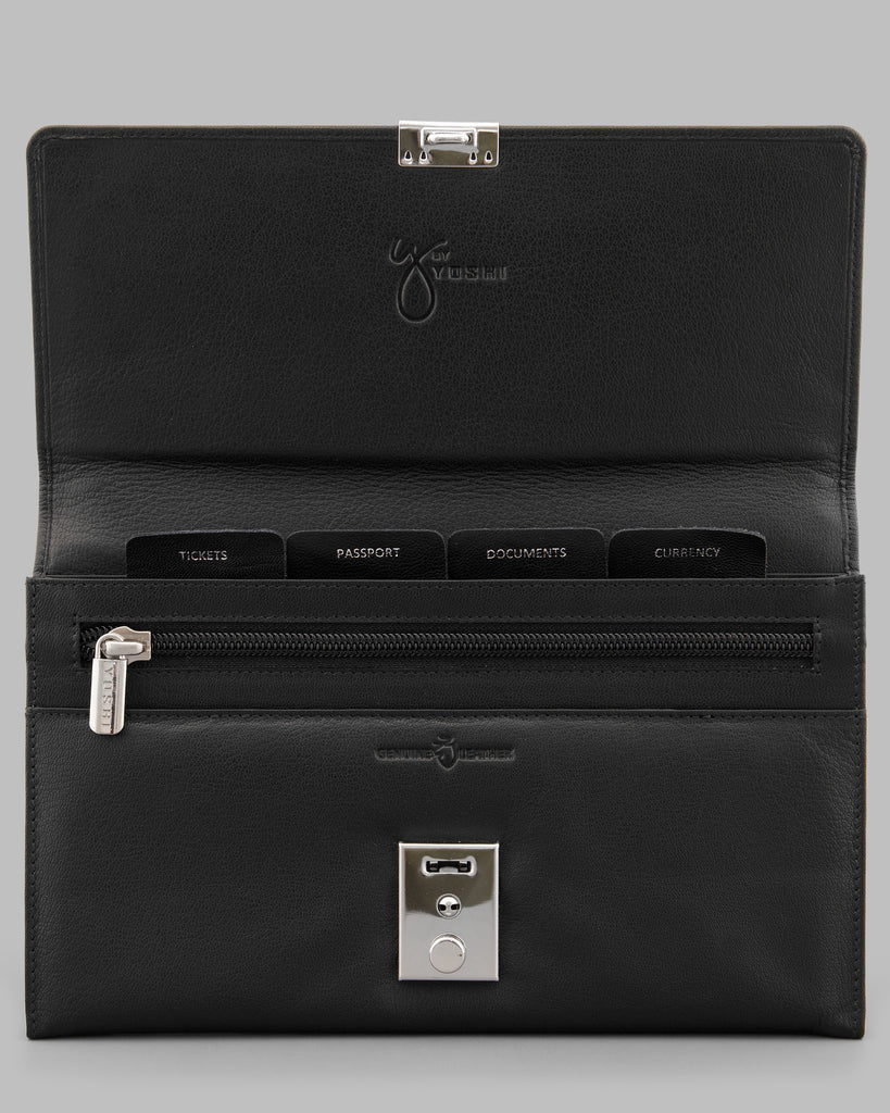 Black Leather Travel Document Holder -  - Y by Yoshi