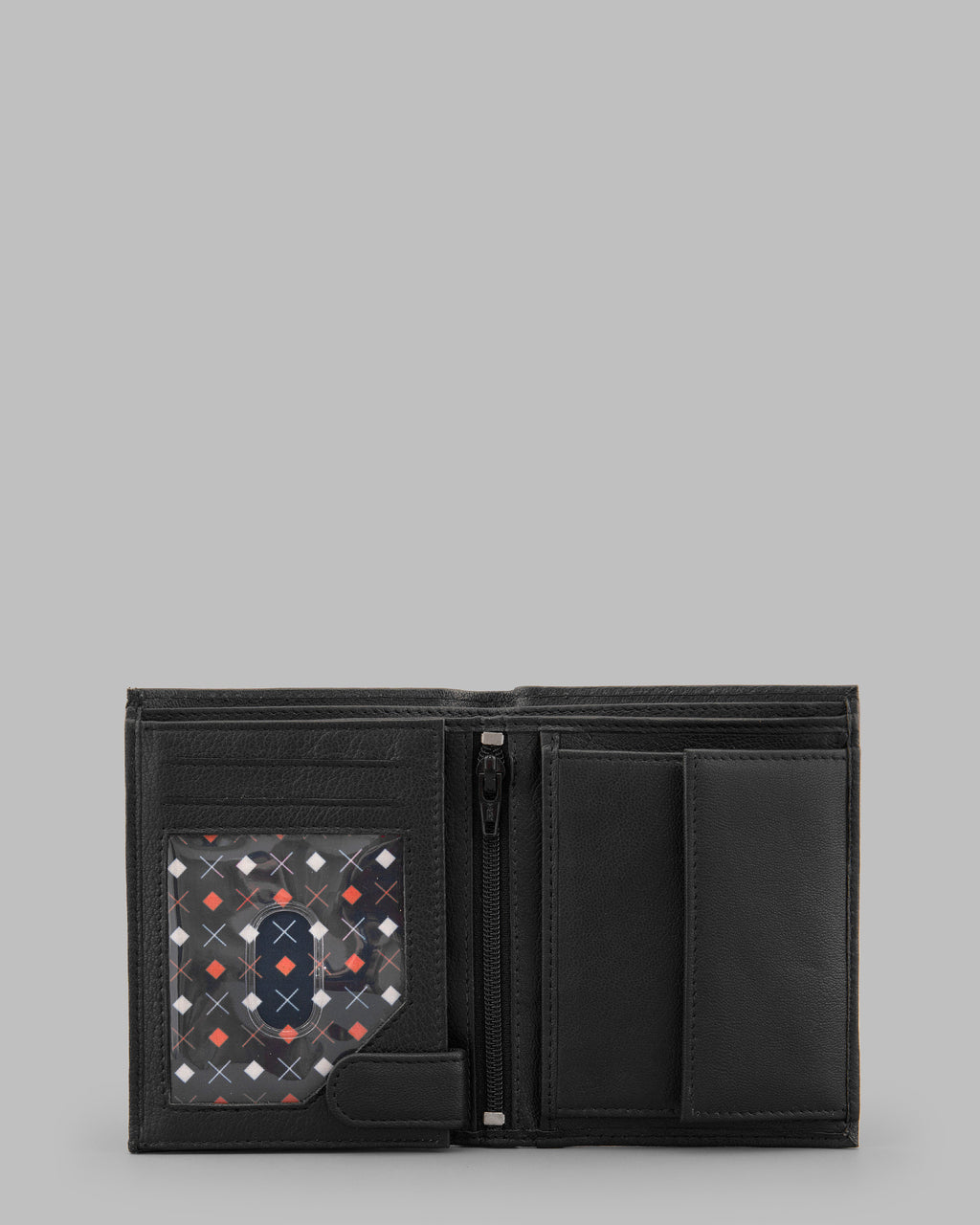 Y by Yoshi Black Leather Two Fold Traditional Wallet A