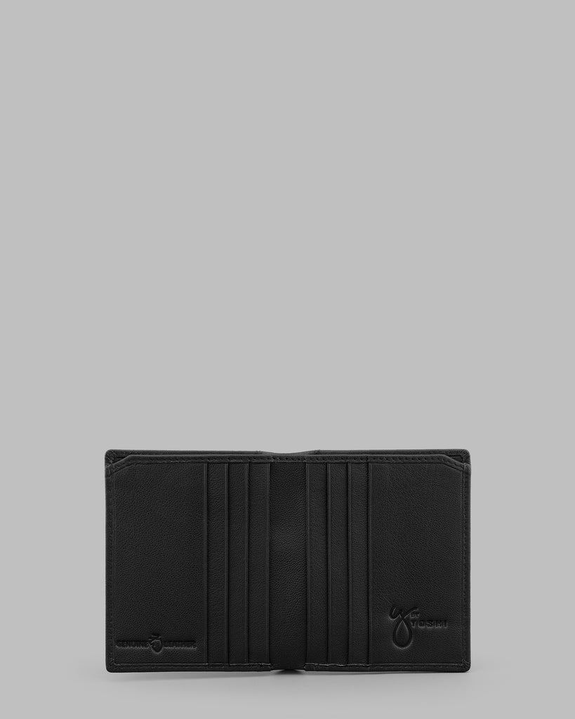 Black Leather Two Fold Wallet - Black - Y by Yoshi