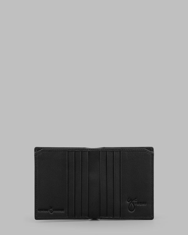 Y by Yoshi Black Leather Two Fold Wallet A