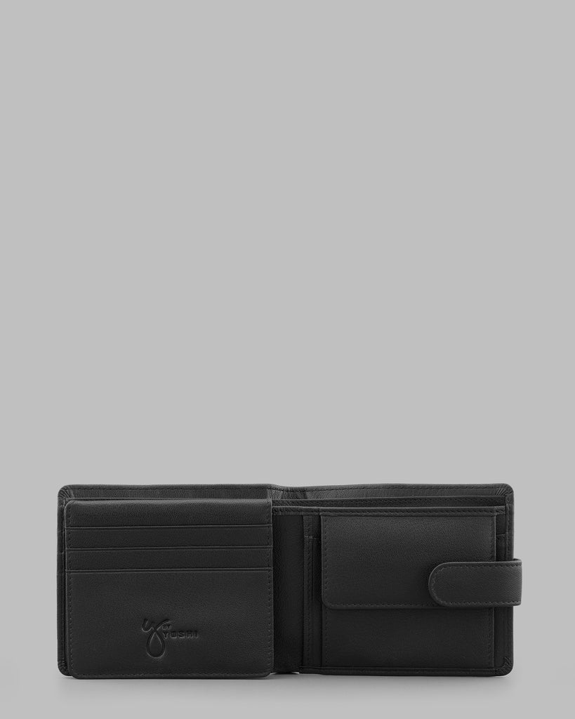 Black Leather Wallet With Tab - Black - Y by Yoshi