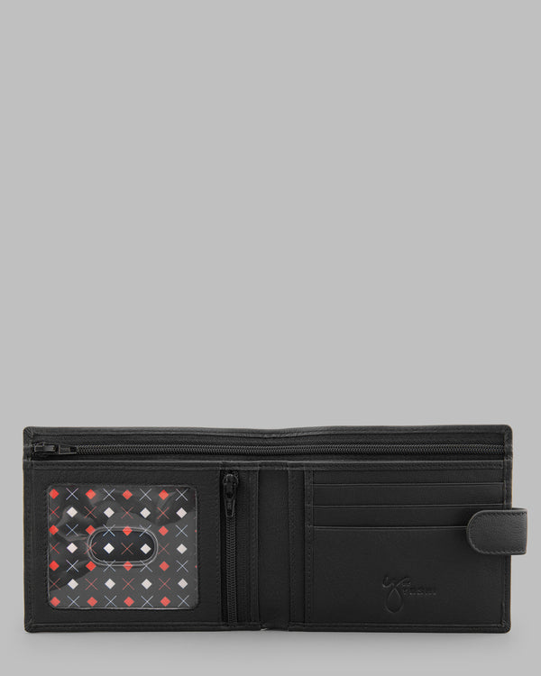 Y by Yoshi Black Leather Two Fold Wallet with Tab A