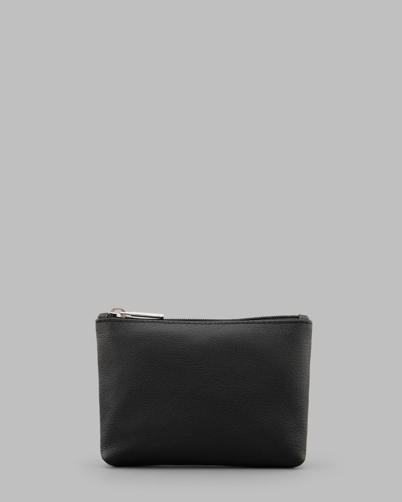 Black Leather Zip Top Purse - Black - Y by Yoshi