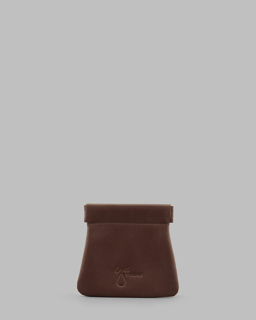 Brown Leather Snap Top Pouch - Brown - Y by Yoshi