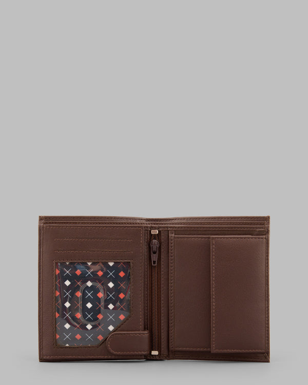 Y by Yoshi Brown Leather Two Fold Traditional Wallet A