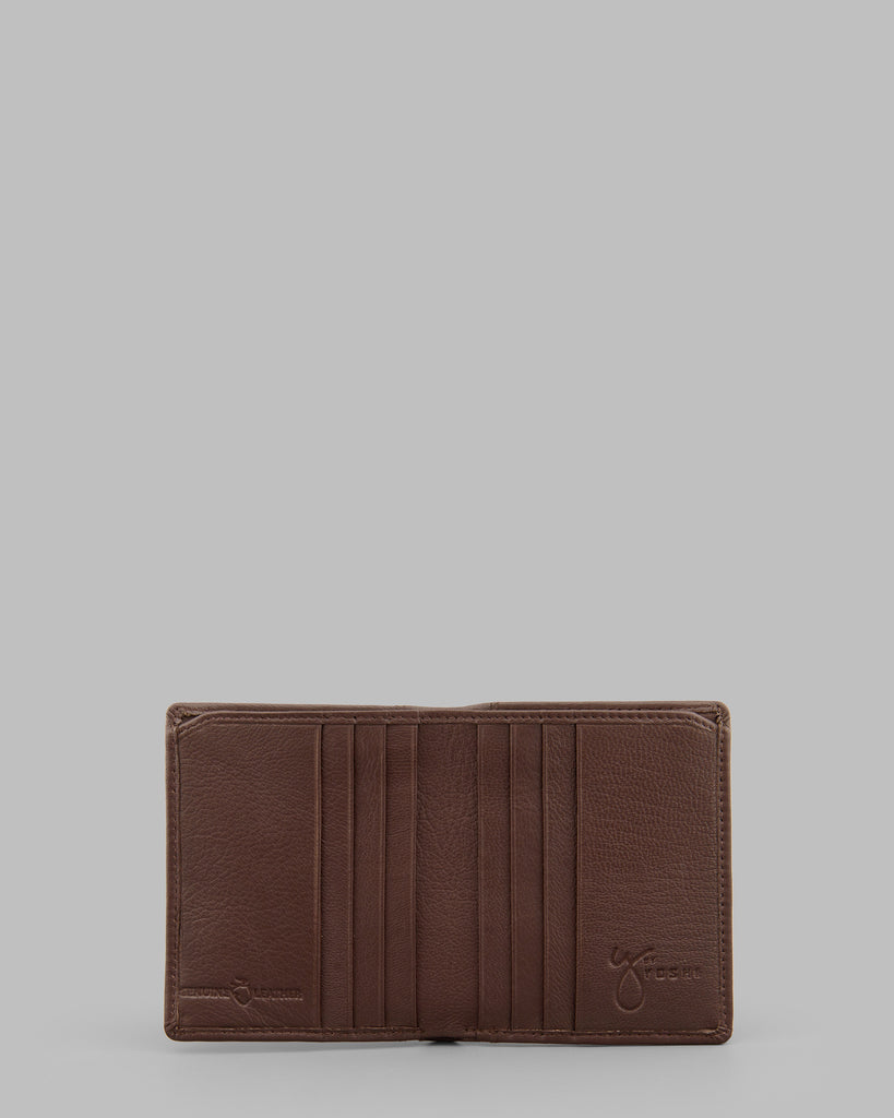 Brown Leather Two Fold Wallet - Brown - Y by Yoshi
