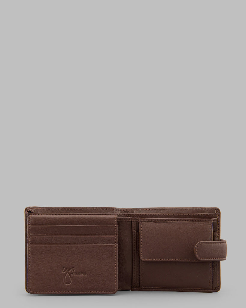 Brown Leather Wallet With Tab - Brown - Y by Yoshi