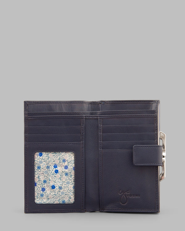 Y by Yoshi Navy Leather Flap Over Frame Purse A