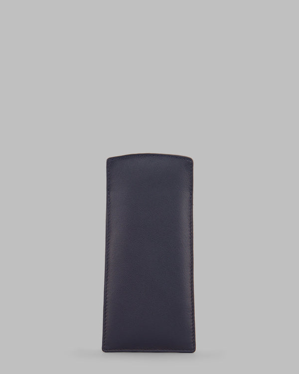 Y by Yoshi Navy Leather Slim Glasses Case A
