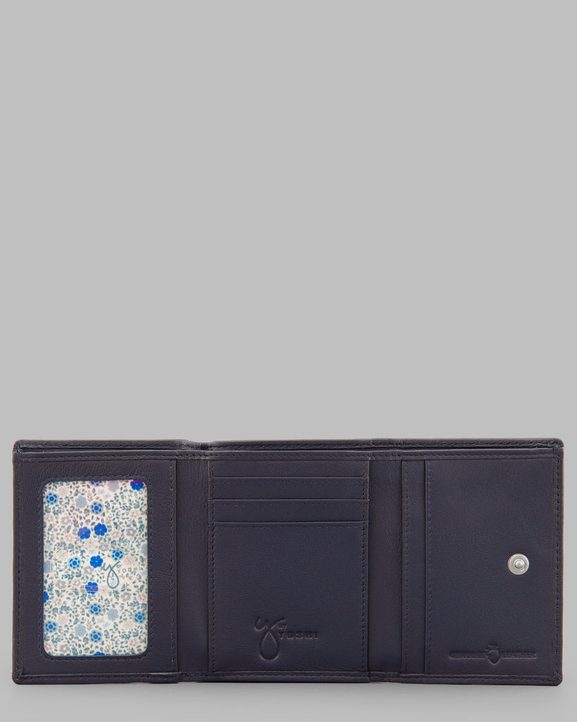 Zip Around Navy Leather Purse - Yoshi