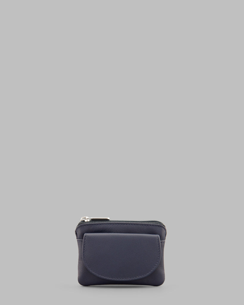 Navy Leather Flap Over Coin Purse - Navy - Y by Yoshi