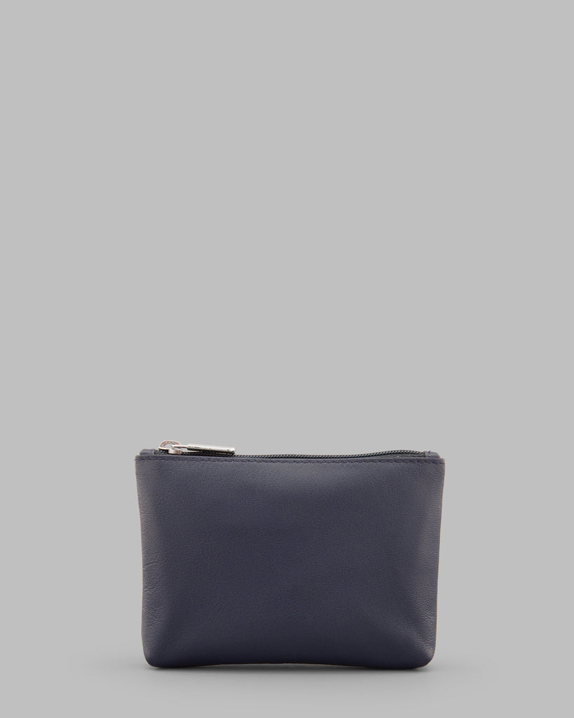 Navy Leather Zip Top Purse - Yoshi