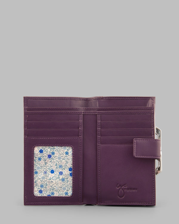 Y by Yoshi Purple Leather Flap Over Frame Purse A