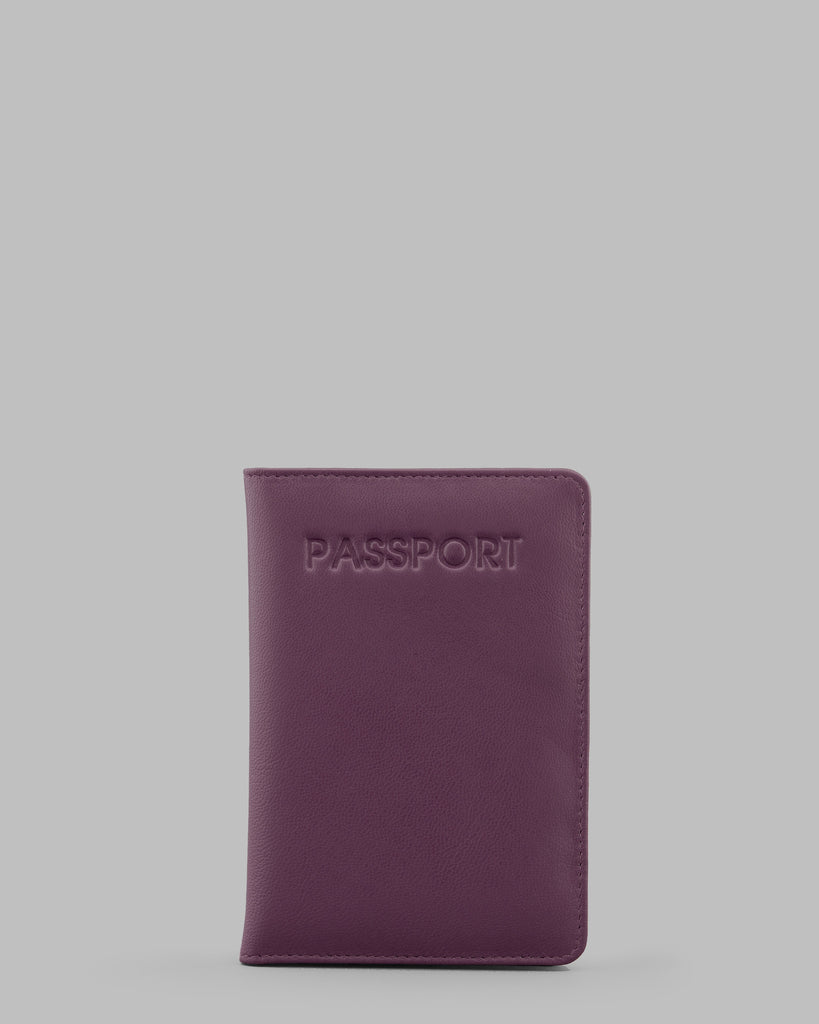 Purple Leather Passport Cover - Purple - Y by Yoshi