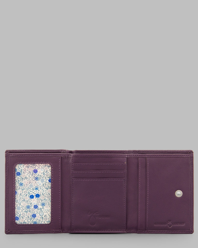 Zip Around Purple Leather Purse - Purple - Y by Yoshi