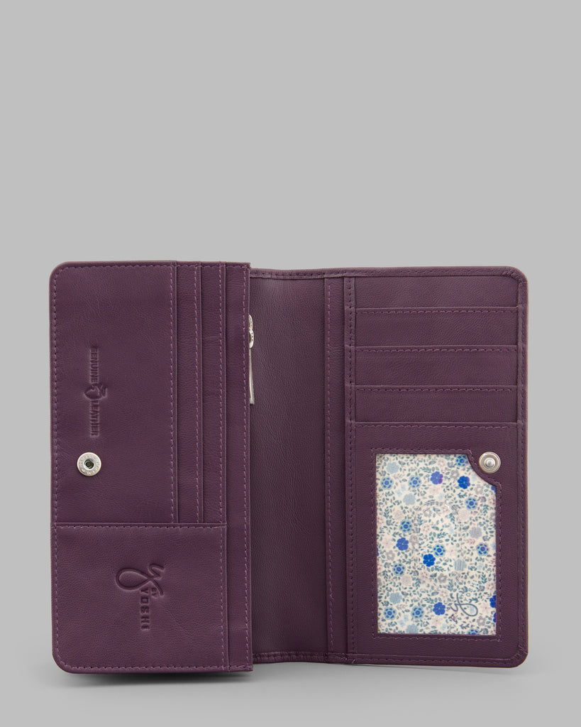 Purple Leather Traditional Flap Over Purse - Purple - Y by Yoshi