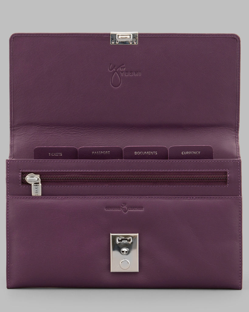 Purple Leather Travel Document Holder -  - Y by Yoshi