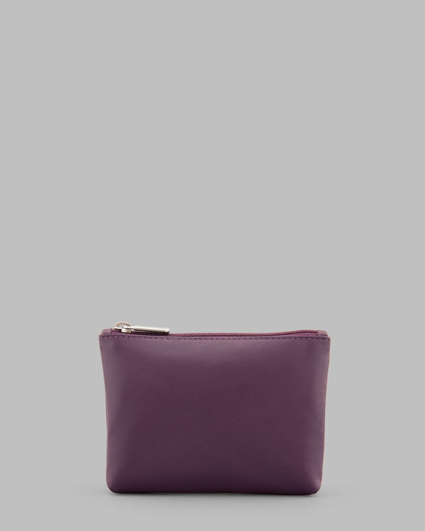 Y by Yoshi Purple Leather Zip Top Purse A